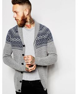 ASOS | Lambswool Rich Shawl Cardigan With Fair Isle