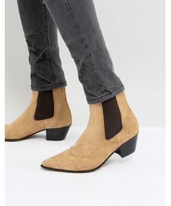 ASOS   Chelsea Boots In Suede With Stacked Heel