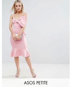 ASOS Petite   Scuba Bow Front Pephem Midi Dress