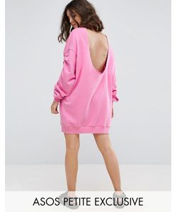 ASOS Petite   Open Back Sweat Dress With Ruched Sleeves
