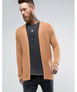 ASOS | Longline Textured Cardigan In Camel