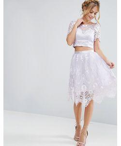 Chi Chi London | Midi Skirt In Scallop Lace