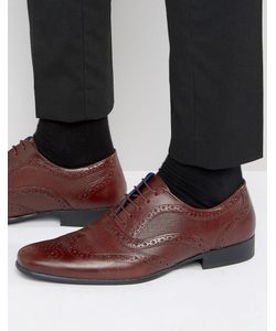 Red Tape | Etched Brogues In Burgundy Leather