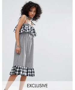 Milk It | Vintage Strappy Dress In Mix And Match Gingham