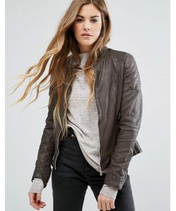Goosecraft | Collarless Leather Biker Jacket With Ribbed Arm