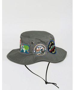 ASOS   Safari Bucket Hat In With Badges