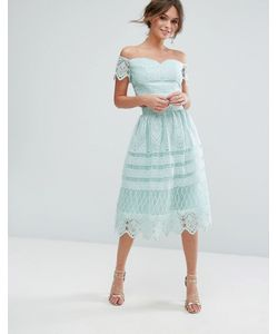 Chi Chi London | Midi Skirt In Paneled Lace
