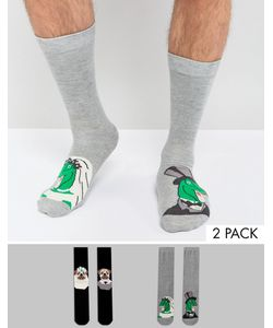 ASOS | Socks With Wedding Dinosaur And Pug Design 2 Pack