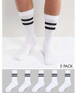 ASOS | Branded Tube Style Socks In Monochrome With Stripes 5 Pack