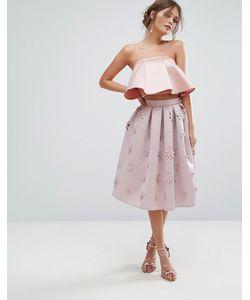 Chi Chi London | Scuba Midi Skirt In 3d
