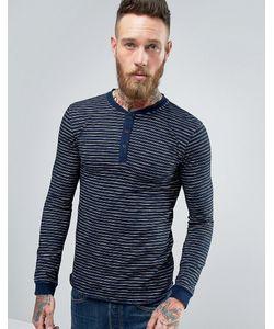 Edwin | Oarsman Henley Long Sleeve Top Stripe Indigo