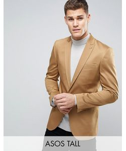 ASOS | Tall Skinny Blazer In Stone Cotton Sateen