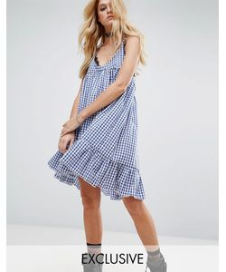 Milk It | Vintage Cami Dress With Peplum Hem In Gingham