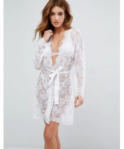 ASOS | Bridal Lace Robe With Scallop Edge