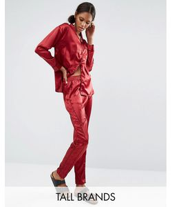 Daisy Street | Tall Pyjama Trouser With Piping Co-Ord Berry
