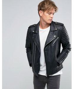 Goosecraft | Leather Biker Jacket Asymmetric Zip In