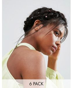 ASOS | Pack Of 6 Jewel Flower Hair Clips