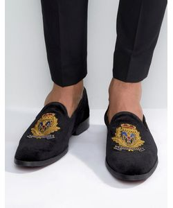 ASOS | Loafers In Velvet With Badge Detail