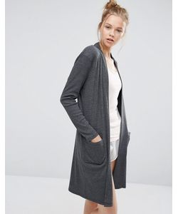 ASOS | Lounge Ribbed Midi Robe Charcoal
