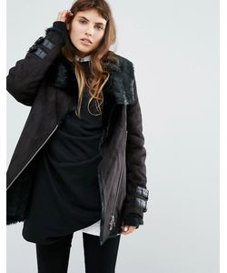 Goosecraft | Longline Biker Jacket With Faux Fur Collar And Lining