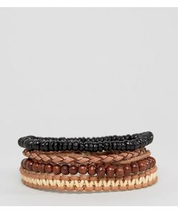 ASOS | Bead And Braid Leather Bracelet Pack