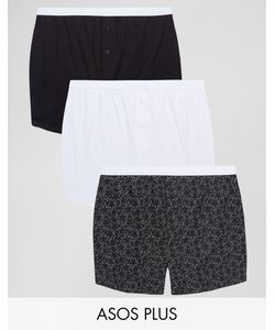 ASOS | Plus Jersey Boxers With Monochrome Star Print 3 Pack