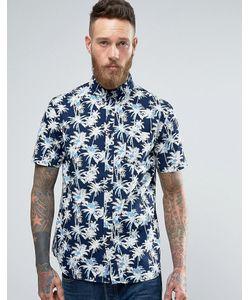 Edwin | Standard Shirt Indigo Palm Print