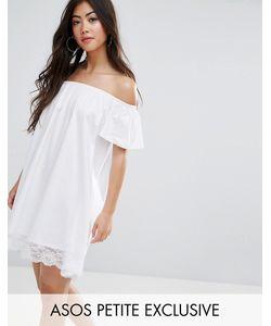 ASOS Petite   Off Shoulder Mini Dress With Lace Hem