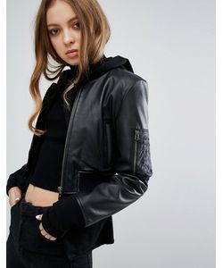 Goosecraft | Leather Cropped Bomber Jacket