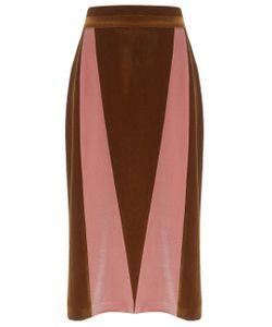 Alexander Lewis | Cognac Velvet Panel Shoshana Skirt