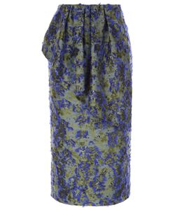 Jourden | Cobalt Fil De Coupé Floral Ruffle Skirt
