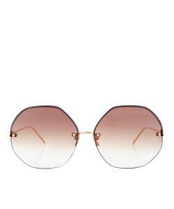 Linda Farrow   Oversized Hexagonal Sunglasses