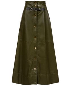 Sonia Rykiel | Olive Leather A-Line Skirt