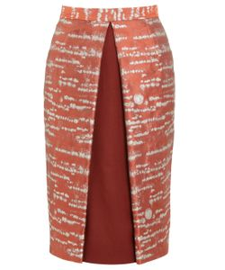 Alexander Lewis | Rust Silver Birch Brocade Pencil Skirt