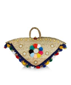 Muzungu Sisters | Multi-Coloured Straw Sicilian Pom-Pom Basket