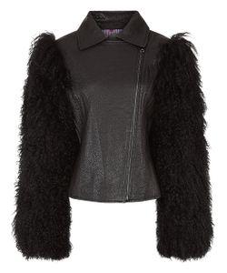 Charlotte Simone | Leather Fur Sleeve Biker Jacket