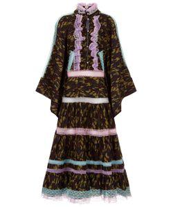 Natasha Zinko   Camo Lace Ruffle Trim Dress