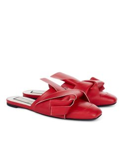 No21   Leather Bow Closed Toe Slides