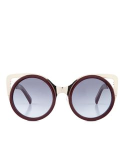 Linda Farrow | Burgundy Cat Eye Sunglasses