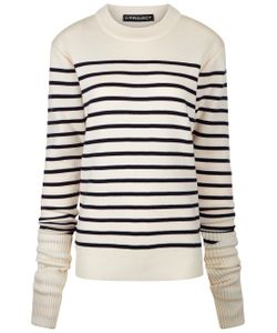 Y / Project | Cream Navy Striped Jumper
