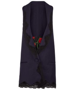 Alexander Wang | Pinstripe Lace Trim Waistcoat
