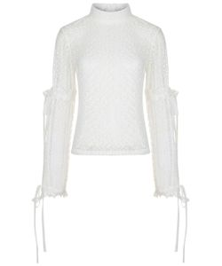 Paskal | Milk Embroidered Bow Sleeve Top