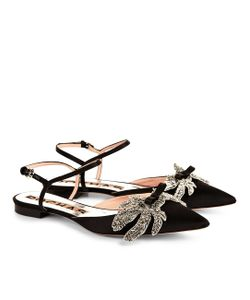 Rochas | Satin Rhinestone Leaf Sandals