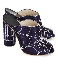 Marco de Vincenzo   Navy Satin Spider Web Mules