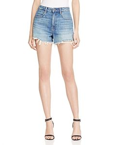 T by Alexander Wang | Bite High Rise Frayed Shorts In Light