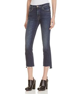 Mother   Insider Crop Step Fray Jeans In Here Kitty Kitty