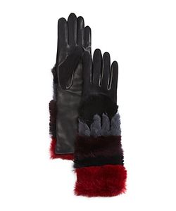 Agnelle | Leather Gloves With Rabbit Fur Cuff