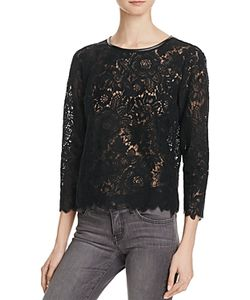 Joie | Antonia Faux Leather Trimmed Lace Top