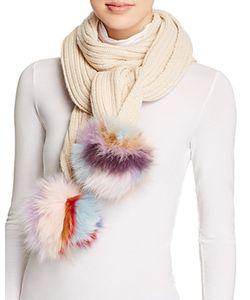 Jocelyn   Knit Scarf With Fox Fur Pom-Poms