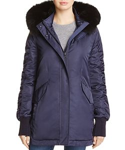 Derek Lam 10 Crosby | Fox Fur Trim Satin Anorak
